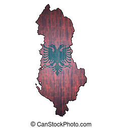 albania territory with flag - map with flag of albania with...