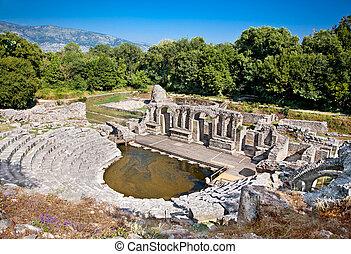 albania., uralt, butrint, amphitheater, baptistery