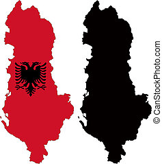 albania - vector map and flag of Albania with white ...