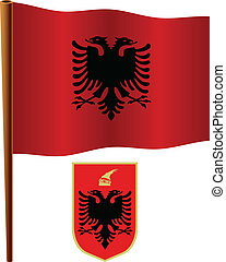 albania wavy flag over map - albania wavy flag and coat of...