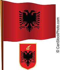 albania wavy flag over map - albania wavy flag and coat of...