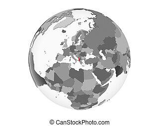 Albania with flag on globe isolated