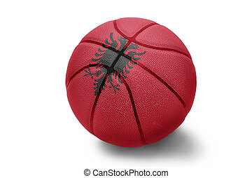 Basketball ball with the national flag of Albania on a white background