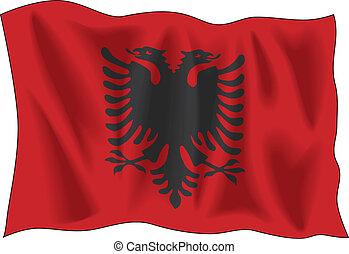 Albanian flag - Waving flag of Albania isolated on white