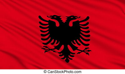 Albanian flag, with real structure of a fabric
