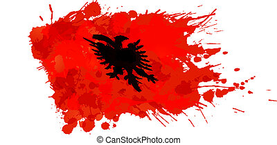 Albanian flag made of colorful splashes