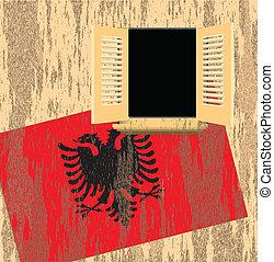 Albanian flag on wall