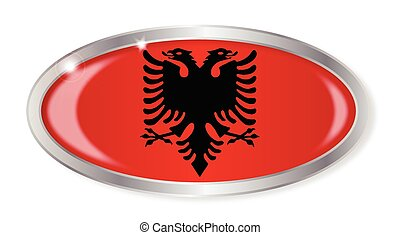 Albanian Flag Oval Button