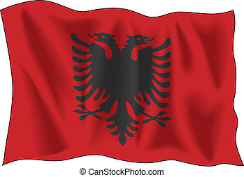 Waving flag of Albania isolated on white