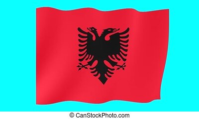 Albanian flag . Waving. - Flag animation for using in foto's...