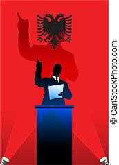 albanien flagg, bak, politisk, podium, högtalare