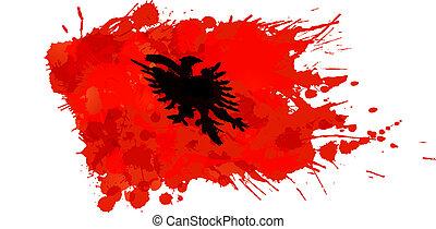 albansk, gjord, flagga, färgrik, stänk
