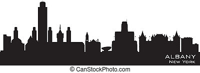 albany, árnykép, város égvonal, vektor, york, új
