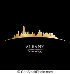 Albany New York city silhouette black background