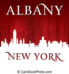 Albany New York city silhouette red background