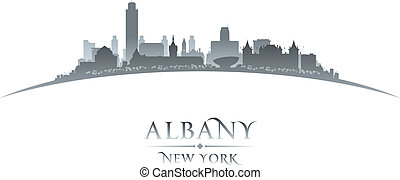 Albany New York city silhouette white background