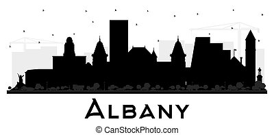 Albany New York City Skyline Silhouette with Black Buildings Isolated on White.
