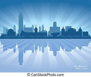 Albany New York city skyline vector silhouette