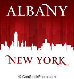 albany, silueta, cidade, york, fundo, novo, vermelho