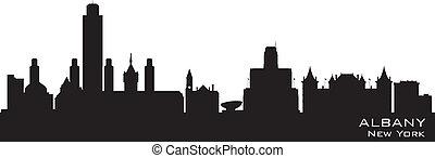 albany, sylwetka, miasto skyline, wektor, york, nowy