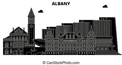 Albany , United States, outline travel skyline vector illustration.