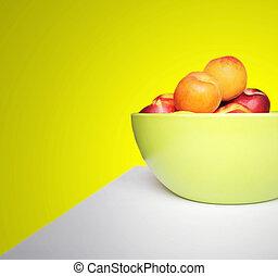 albaricoques, y, nectarinas