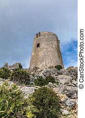 Albercutx watchtower in Pollenca, Majorca (Balearic Islands,...