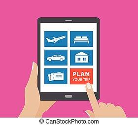 albergo, biglietti, presa a terra, tavoletta, icone, schermo, volo, button., toccante, computer, piano, automobile, mani, viaggio