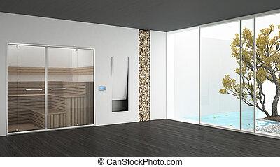 albergo, caminetto, giardino, sauna, grigio, nuoto, stanza, minimalista, disegno, stagno, interno, terme, bianco