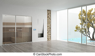 albergo, caminetto, giardino, sauna, nuoto, stanza, minimalista, disegno, stagno, interno, terme, bianco