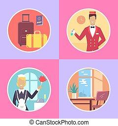albergo, conveniences, rotondo, cartone animato,...