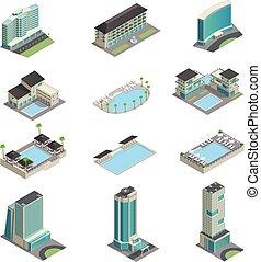 albergo, costruzioni, icone, lusso, isometrico
