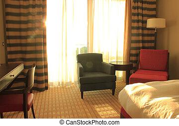 albergo, lusso, stanza