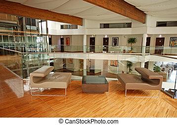 albergo, moderno, atrio