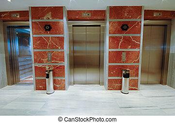 albergo, moderno, porte ascensore