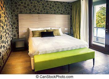 albergo, moderno, stanza