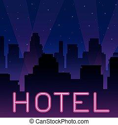 albergo, neon, pubblicità