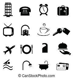 albergo, simboli, icona, set