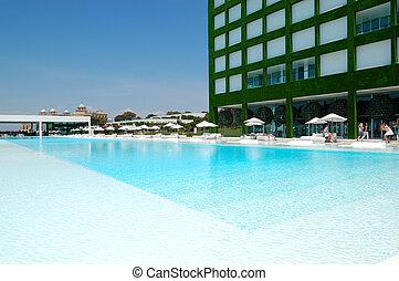 albergo, tacchino, zona, stagno, moderno, lusso, ultra, antalya, nuoto
