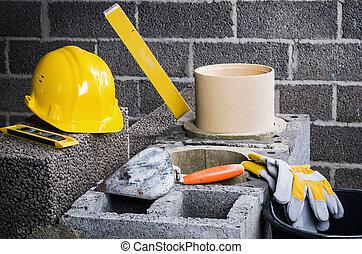 albergue construcción, cerámico, chimenea, modular