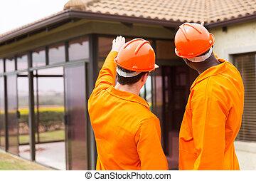 albergue construcción, debajo, señalar, contratistas