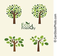 alberi., astratto, vettore, illustration.