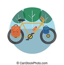 alberi., bicicletta, tourism.