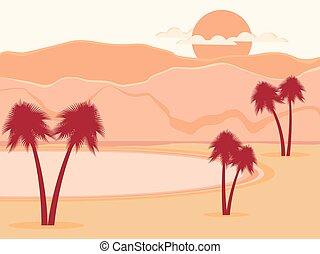alberi., illustrazione, oasi, vettore, palma, desert.