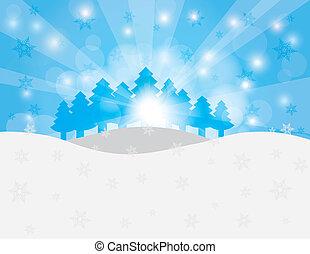alberi natale, in, neve, scena inverno, illustrazione
