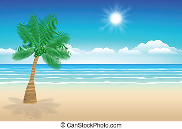 alberi., noce di cocco, mare, sabbia, fondo