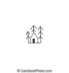 alberi., theme., mano, vettore, foresta, icona casa, disegnato, proprietà, noleggio