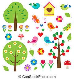alberi., vettore, set, uccelli
