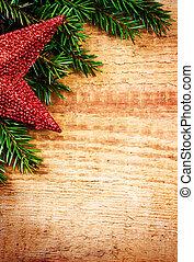 albero abete, o, decorazione, ramo, bordo, natale