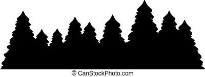 albero abete, silhouette, foresta